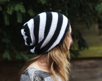 "Black and White Slouchy Beanie, Dread Hat, Knitted, Thick Dreads 22"" - 24"""