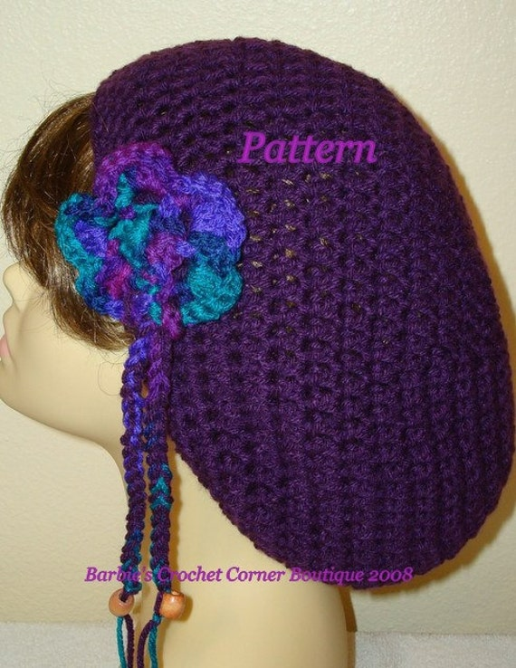 Easy Crochet Rasta Hat Pattern : Pattern-Crochet Slouchy Rasta Tam Hat w/ Removable Flower or