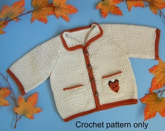 Crochet pattern (PDF) for baby boy (or girl) - autumn cardigan sweater Foxy Loxy - size 12 months
