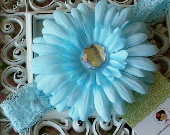 NEW---Boutique Baby Toddler Girl Lace Headband with Jeweled Gerber Daisy Clip----Ice Blue----