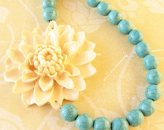Statement Necklace Flower Necklace Turquoise Jewelry Bridesmaid Necklace Bib Necklace