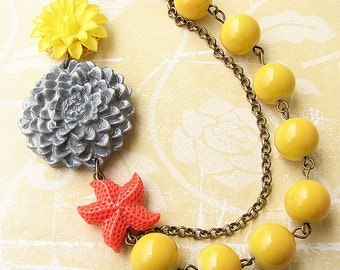 Flower Necklace Statement Jewelry Grey and Yellow Necklace Starfish Jewelry Statement Necklace Beadwork