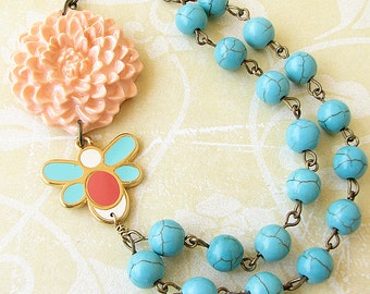 Beaded Necklace Flower Necklace Turquoise Jewelry Peach Necklace Statement Necklace Bee Jewelry
