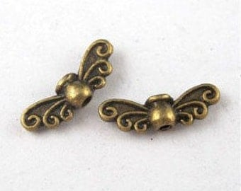 Angel Wings Spacer Beads, Antique Brass, Pack Of 20 Beads.