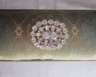 Vintage WWII Era Clear Glass Rhinestone Brooch