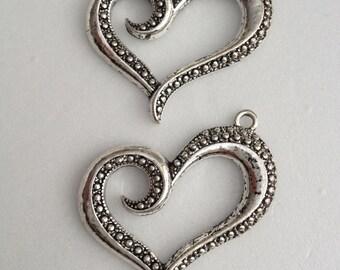 10 pcs - Antique Silver Heart charm Pendant  - lead free, nickel free, cadmium free