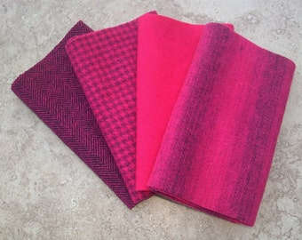 """Hand Dyed Wool Felt, MAGENTA, Four 6.5"""" x 16"""" pieces in Hot Cherry Red"""