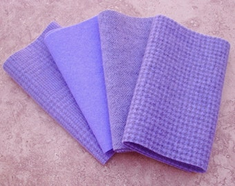 "Hand Dyed Wool Felt,  WISTERIA, Four 6.5"" x 16"" pieces in Soft Blue Violet"