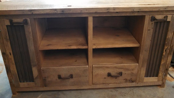 your custom made rustic barn wood corner entertainment center