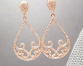 Rose Gold Bridal earrings, Rose gold Wedding earrings, Wedding jewelry, Teardrop earrings, Rose gold chandelier earrings, Swarovski crystal