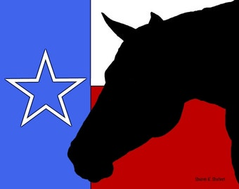Texas Flag, Horse Silhouette Art, Southwestern Equine, Black Red White Blue, Lone Star State, Wall Hanging, Home Decor, Giclee Print, 8 x 10