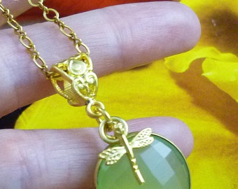 22K Turkish Gold Plated Dragonfly Charm Prehnite Gemstone Gold Filled Necklace Set