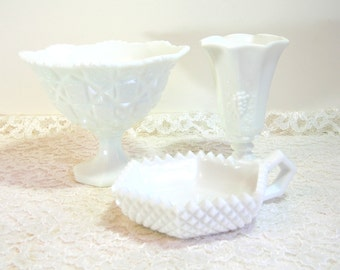 Westmoreland Milk Glass Footed Bowl, Vase And Candle Holder