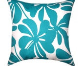 CLEARANCE - Premier Prints Twirly True Turquoise and White Floral Decorative Throw Pillow - Free Shipping
