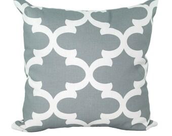 Premier Prints Fynn Cool Grey Decorative Throw Pillow - Decorative Quatrefoil Print Throw Pillow - Free Shipping