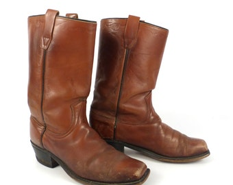 Wrangler Campus Boots Vintage 1980s Carmel Whiskey Brown Square Toe Cowboy Leather Men's 8 1/2