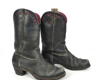 Inlay Cowboy Boots Vintage 1940s Black 40s Leather