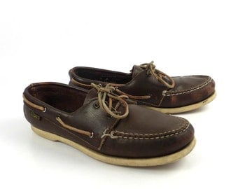 Distressed Boat Shoes Vintage 1980s Dex Dexter Dark Brown Leather Women's size 8