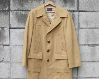 Pendleton Wool Coat Vintage 1970s Jacket Tan Brown Men's