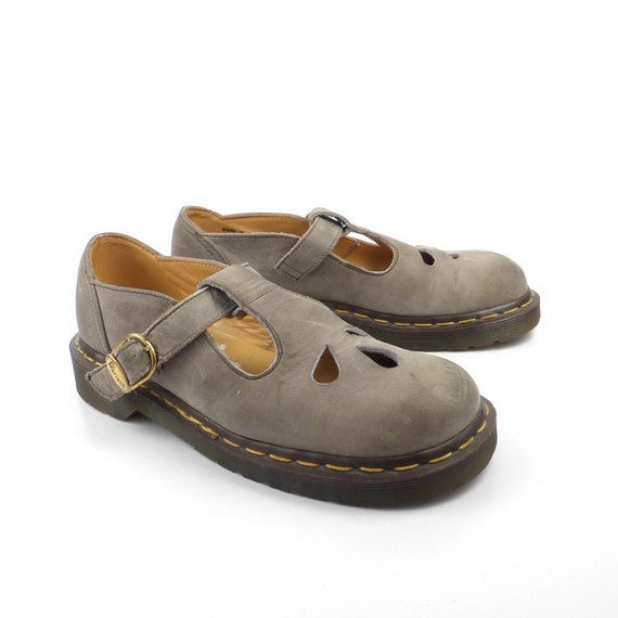 dr martens shoes mary janes 1990 doc tan gray taupe brown. Black Bedroom Furniture Sets. Home Design Ideas