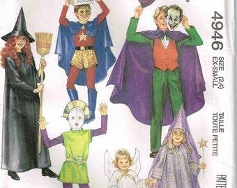 Toddler Sewing Pattern Costume Super Hero, Wizard, Witch, Vampire, Angels Princess, Robot McCalls 4946 Child size 2 4 Girls Boys Superhero