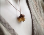 Glass Acorn Necklace in Cappuccino Swirl by Bullseyebeads