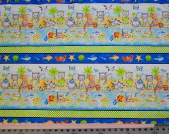 Fabric - Beach Party Cats - Border Stripe Fabric by Northcott - 1 Yard