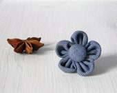 Flower lapel pin - mens lapel pin - twilled boutonniere blue and white or burgundy and white - mens accessories - fabric lapel pin