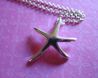 Shop Sale.. 1 2 5 10 pc, STARFISH Pendant Charm, Star Fish Sterling Silver, 21.5x19 mm, beach weddings sea creature ocean nature solo oc