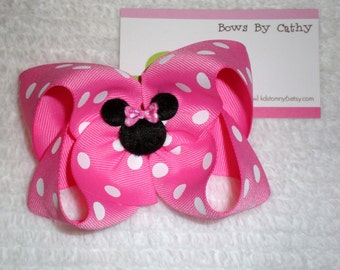 Hot Pink Minnie Mouse Bow - Toddler Hair Bow - Girls Hair Bow - Minnie Mouse Birthday Bow - Baby Hair Bow