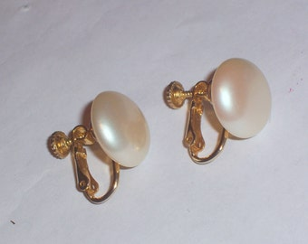Vintage Pearl Earrings by Marvella - Clip Ons With an Adjustable Screw Back