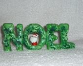 Vintage Christmas Holt Howard Santa NOEL Candle Holder Winter Green Mid-Century Figurine