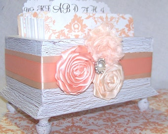 GUEST Book Box, Dividers, Peach and White, White Shabby Chic Box, Custom colors available
