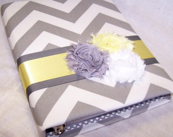 GUEST Book, BABY Shower Guest Book, Yellow and Gray, Elephant Theme, Grey and White Chevron fabric, Yellow, Custom Colors available