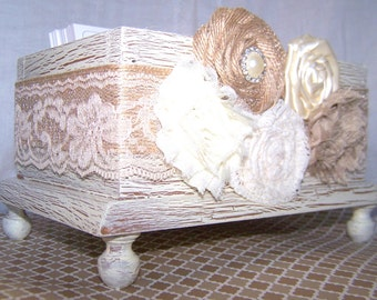 Wedding Guest Book Box Basic - Burlap and Lace, Ivory Shabby Chic, Neutral, Ivory, Tan, Burlap Flowers, Custom colors available