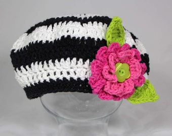 Ready to Ship Size 3-10 Year Girls Cotton Striped Beret Hat with Flower