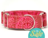"SALE!!! 1.5"" Large Waterproof Martingale Collars - ""Block Print"" - Waterproof Dog Collars - Green Martingale Dog Collars"