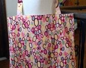 tote bag - grocery bag - reusable bag - bangle dot pink