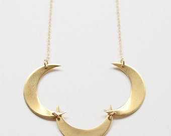 SALE Crescent Moon Gold Necklace