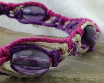 Hemp Macramé Bracelet, Anklet or Choker Necklace - Natural, Purple and Pink - Beaded - Adjustable - 8 - 12 Inches