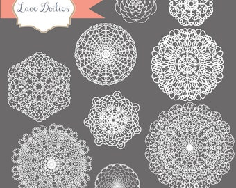 Instant Download - Hand Drawn Lace Vectors: Digital Clipart Set