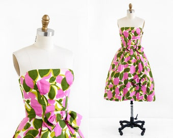 vintage 1950s dress / 1960s dress / Pink and Green Floral Party Dress with Removable Wrap
