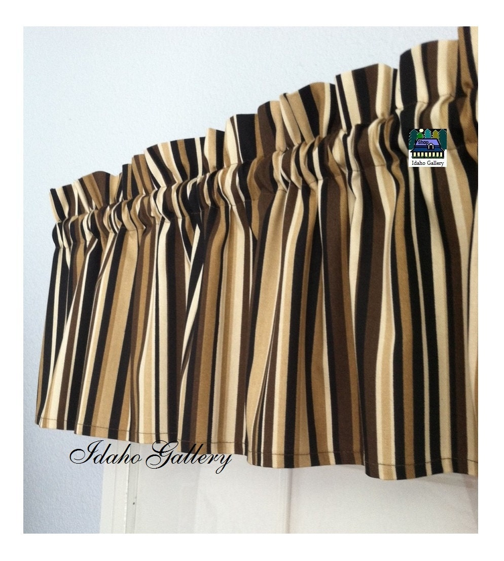 Brown Tan Cream Stripe Window Valance Little Curtain Modern