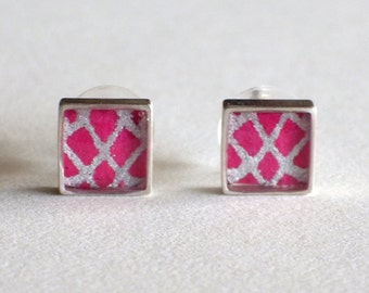 Pink and Silver Paper Stud Earrings / Sterling Silver / Paper Jewelry / Gifts for Her / First Anniversary Gift / Everyday Posts / Diamond