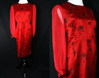 SALE 1960s Plus Size Wiggle Dress Red Satin Asian Style Print Illusion Long Sleeve