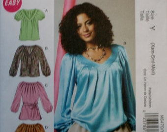 McCall's M6470 Misse's Top, Tunic, Belt and Dress Sewing Pattern New/Uncut Size XS-S-M