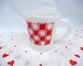 vintage Hazel Atlas cup mug, white milkglass red geometric design, vintage housewares