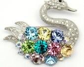Rhinestone Brooch,Peacock Swan Big Brooch Swarovski Crystal Rhodium Plated Bridal Brooch,Fashion Art Deco Sparkle Jewelry,