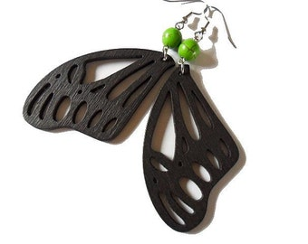 Dark Brown Wooden Earrings. Butterfly Wings and Green Stone Beads