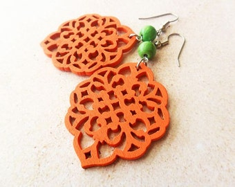 Orange and Green Earrings, Wooden Filigree and Magnesite Stone